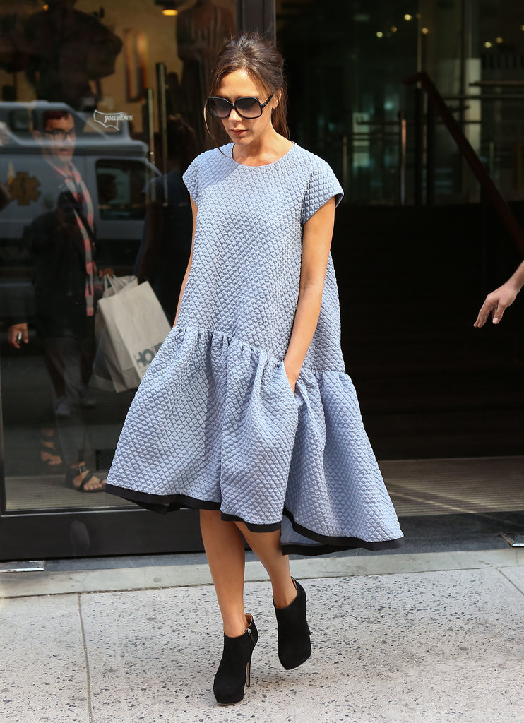 Victoria Beckham left an office building in NYC.
