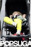 Harper Beckham slept soundly in her stroller.