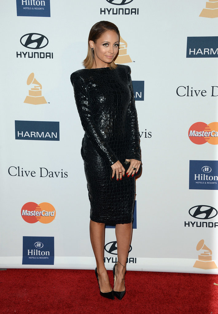 Nicole Richie looked as slick as ever in a black croc-embossed Tom Ford dress with patent Christian Louboutin pumps and a House of Harlow 1960 clutch at Clive Davis's 2013 pre-Grammys party.