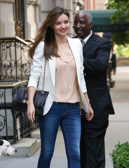 Miranda Kerr wore a white blazer to the US Open.
