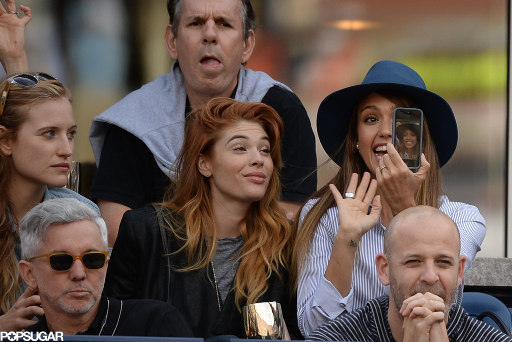 Jessica Alba excitedly captured a picture of herself and friends at the US Open in NYC in September.