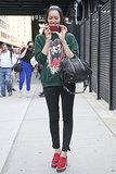 Liu Wen knew the fastest way to a cool outfit was with a cool sweatshirt.