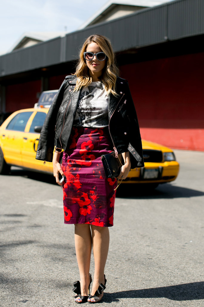 A floral skirt and whimsical heels made for a sweet look outside of Tommy Hilfiger's show.
