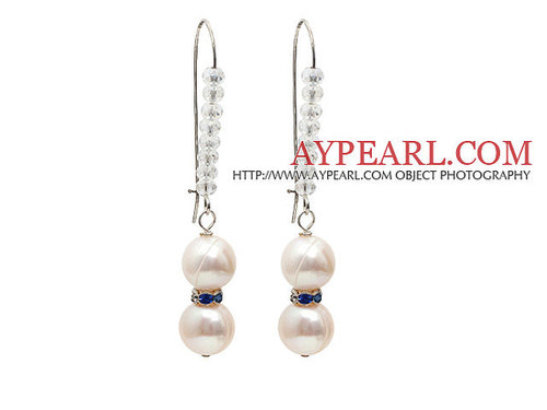 Fashion Style Natural White Freshwater Pearl Earrings with Clear Crystal