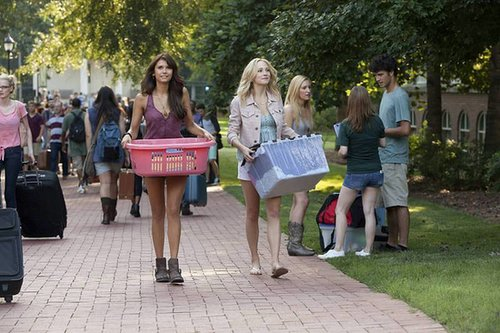 The Vampire Diaries Nina Dobrev and Candice Accola on the season five premiere of The Vampire Diaries.