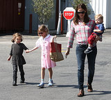 When Jennifer Garner had her hands full with little Samuel, eldest child Violet helped guide Seraphina through a parking lot.