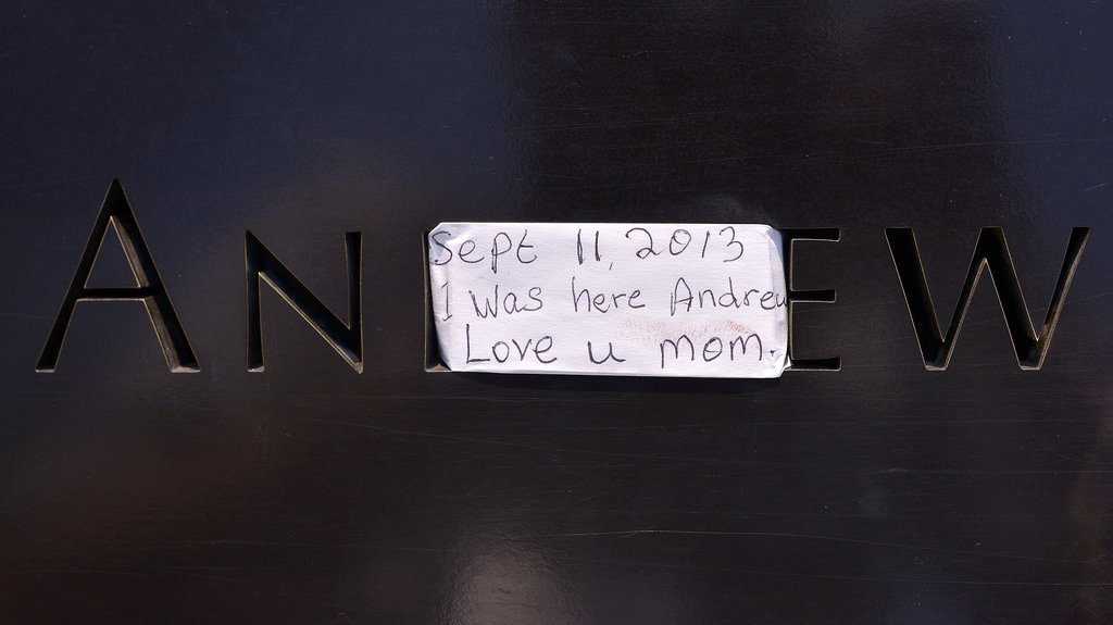 A note was left on one of the names at the 9/11 Memorial in NYC.