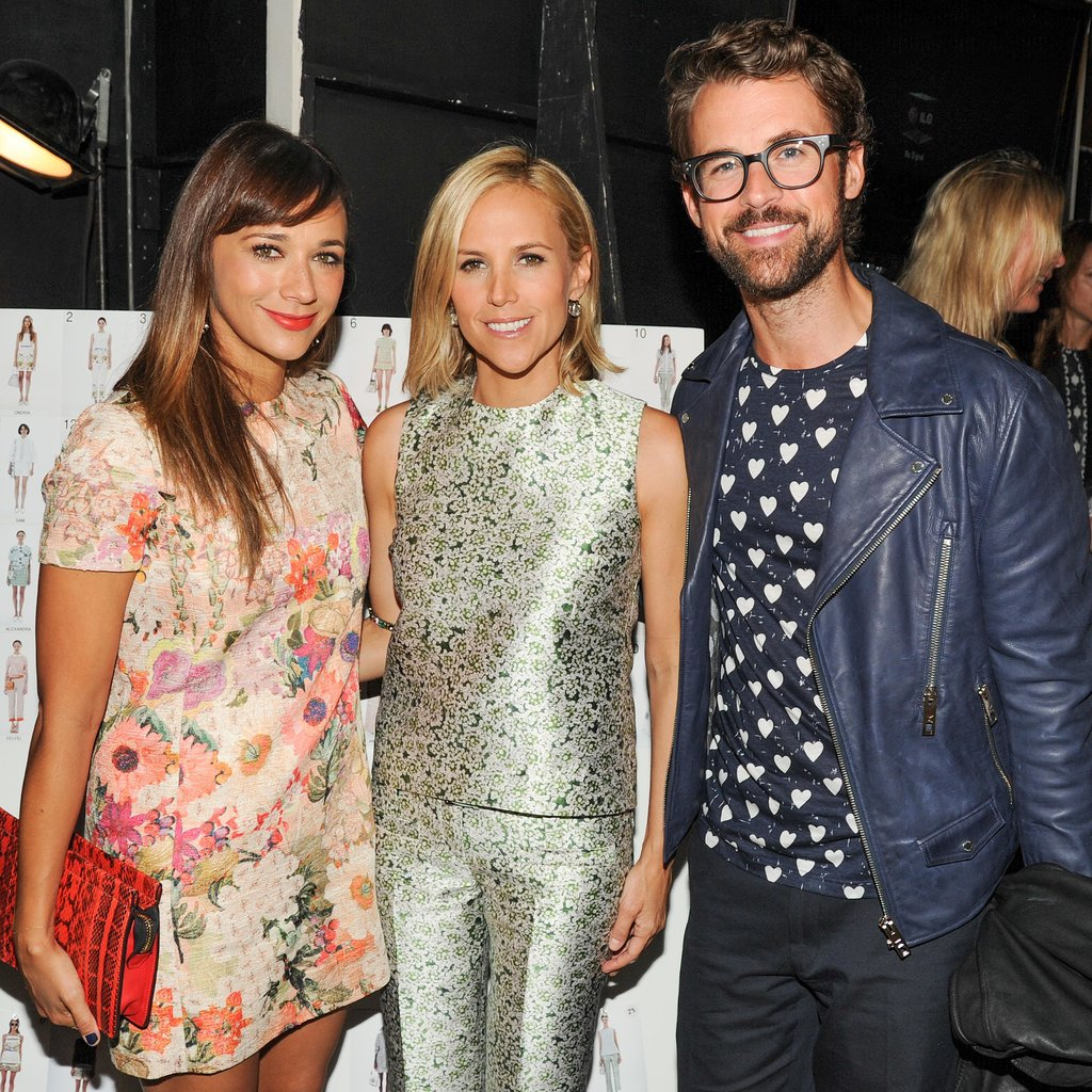 At the Tory Burch show, Rashida Jones and Brad Goreski took in the collection.