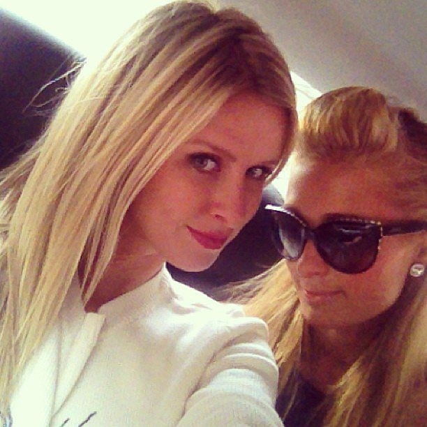 Nicky and Paris Hilton snapped a selfie while en route to their pal Charlotte Ronson's NYFW runway show. Source: Instagram user nickyhilton