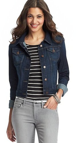 Cropped Denim Jacket in League Blue Wash