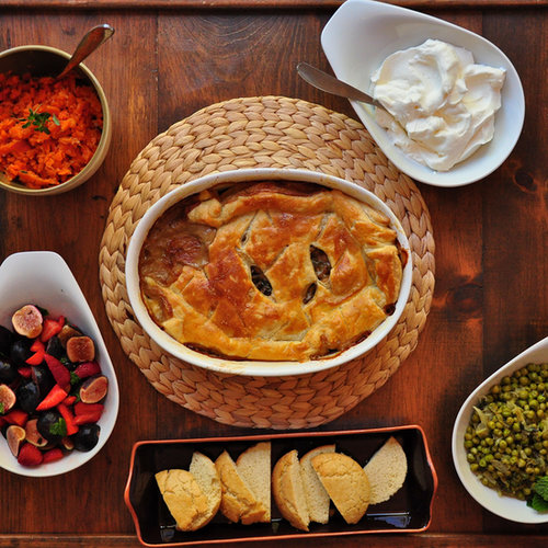 Chicken Pot Pie, Carrot Smash, French Style Peas, Berries & Cream