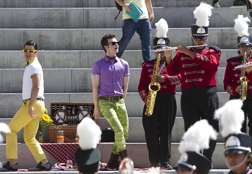 Blaine (Darren Criss) and Kurt (Chris Colfer) perform on Glee.