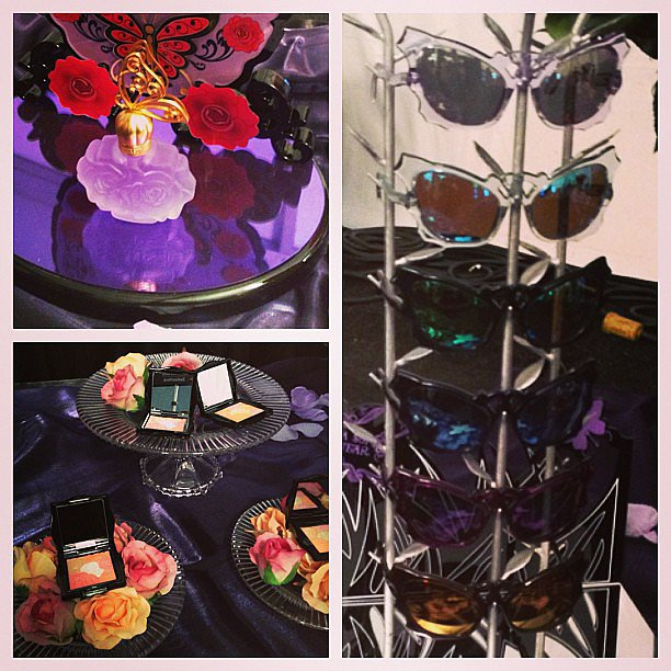 We stopped by the Anna Sui beauty bar backstage before the show. Check out those sunglasses, coming soon to stores near you.