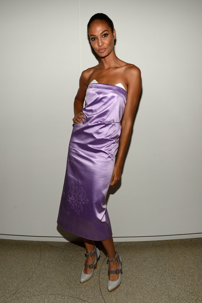 Joan Smalls wore a purple silk dress.