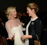 Julianne Hough and Drew Barrymore shared a laugh at Estée Lauder's  Modern Muse party at the Guggenheim Museum in NYC.