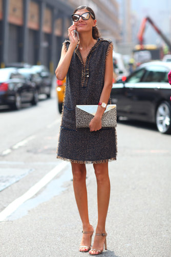 Giovanna Battaglia was picture-perfect in a tweedy sheath and cat-eye frames.