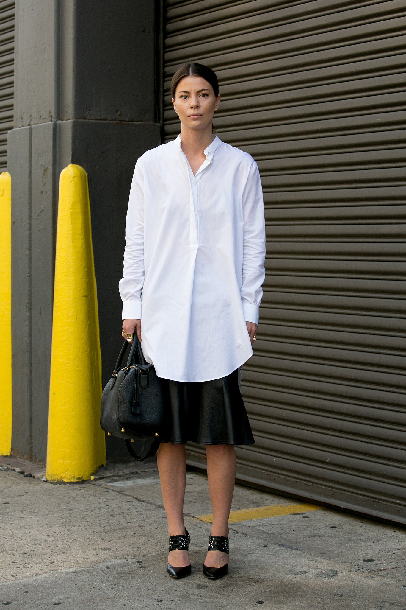 minimalist perfection in an oversize white shirt and