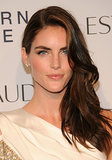 Hilary Rhoda was positively glowing with plenty of blush, glowing lips, and a glossy, sideswept style.