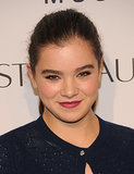 Hailee Steinfeld pulled her hair back into a ponytail and finished off her look with a berry lip.