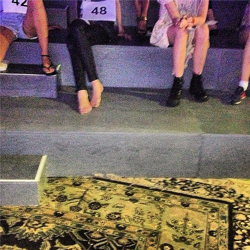 Before the runway was strewn with sand and cigarettes, the models rehearsed for the Marc Jacobs show. Source: Instagram user kegrand