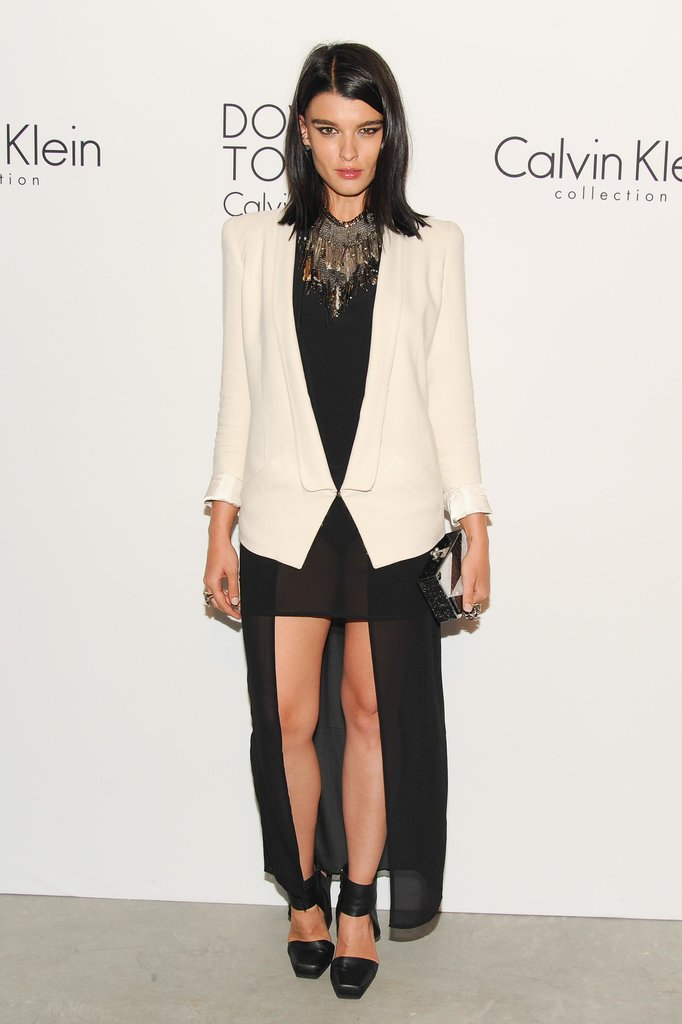 Crystal Renn showed some leg in an asymmetric design at Calvin Klein's Downtown bash.