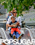 Miranda Kerr and Flynn had fun at the playground in Central Park.