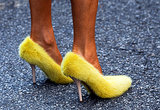 Big Bird? Nope, that's Anna Dello Russo in Celine's fuzzy yellow pumps.