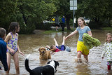Kids played in the flooded streets of Boulder, CO, after nearly 10 inches of rain fell in 12-18 hours.
