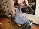 Victoria Beckham took a spin on a motorcycle during Fashion Week. Source: Twitter user victoriabeckham