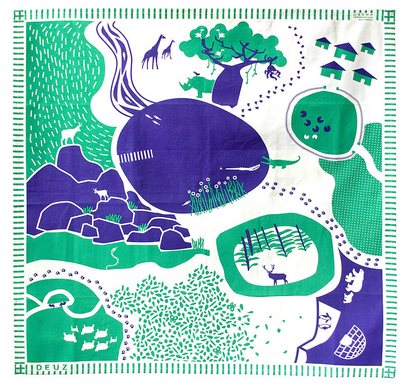 Tapikid organic canvas play mat in green and purple ($70)
