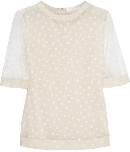 Chloé Embroidered polka-dot tulle top