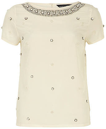 Ivory pearl embellished top