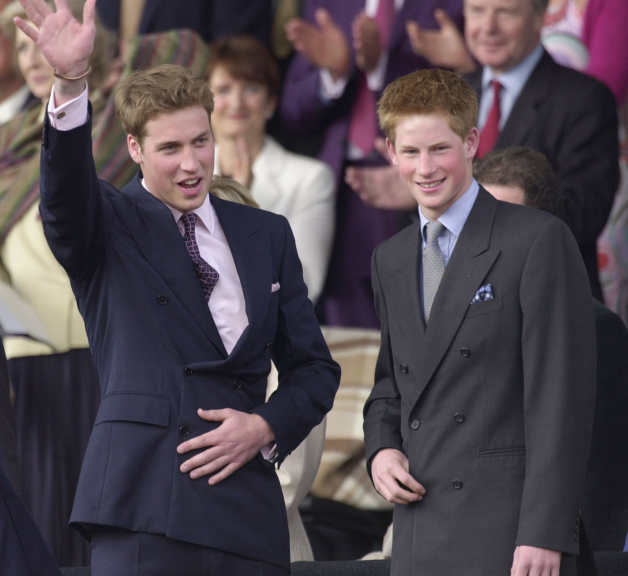 Prince Harry and Prince William waved to the crowd in the gardens of Buckingham Palace in 2002.