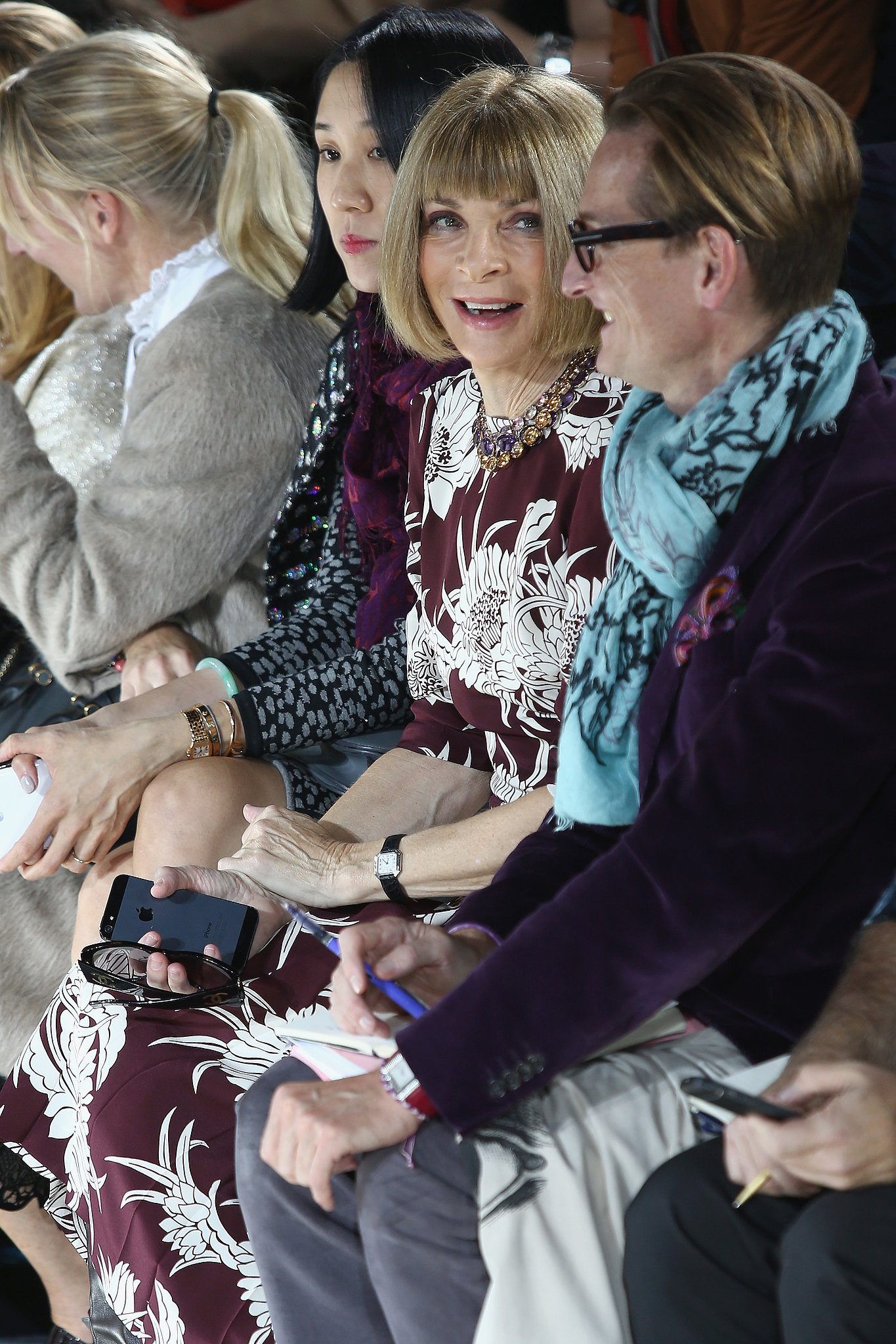 Anna Wintour was in attendance at Mary Katrantzou's show.