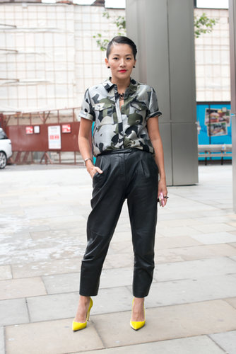 Another showgoer took on the cool-girl styling formula: camo and leather.