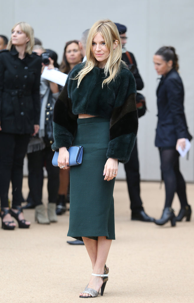 Sienna Miller wore a fur crop top.