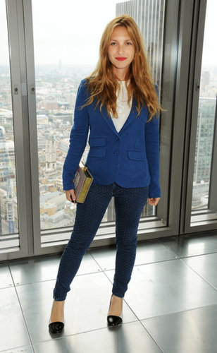 Joséphine de La Baume picked a slim suit to kick off her London Fashion Week with Whistles' runway show.