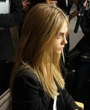Cara Delevingne backstage at Burberry Prorsum Spring 2014.