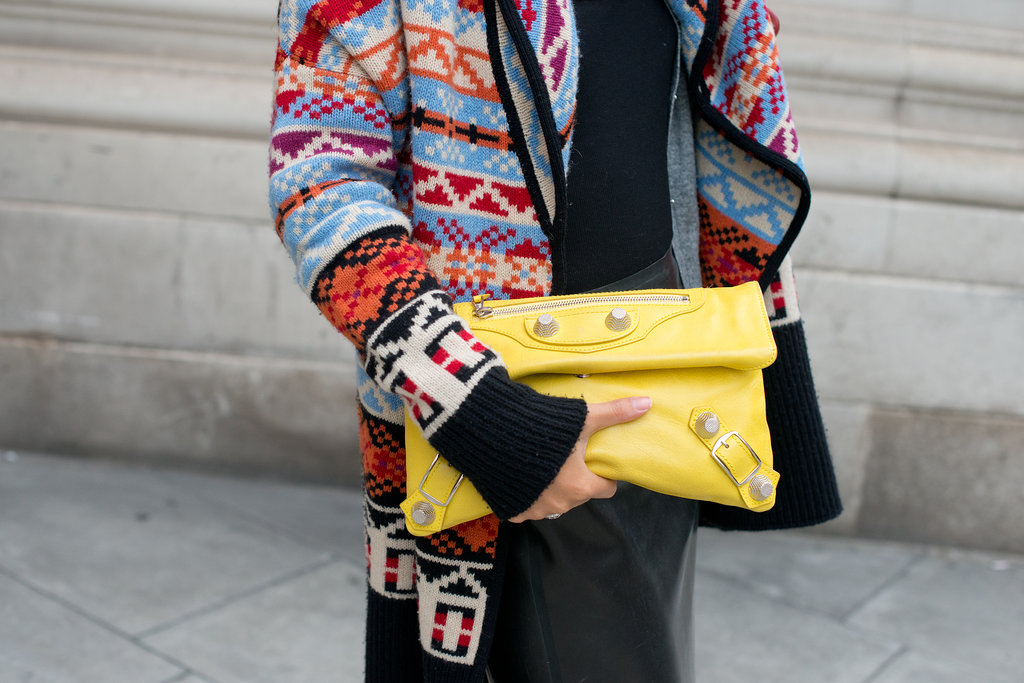 This sunny Balenciaga clutch was made for showing off.