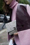 A dotted clutch provided the print in this mix.