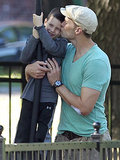 Tom Brady gave his son John a smooch at a park in Boston, MA.