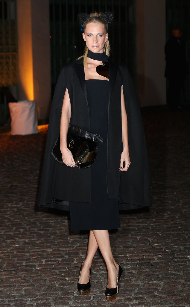 Poppy Delevingne gave the LBD a modern twist outside The Global Fund's London party.