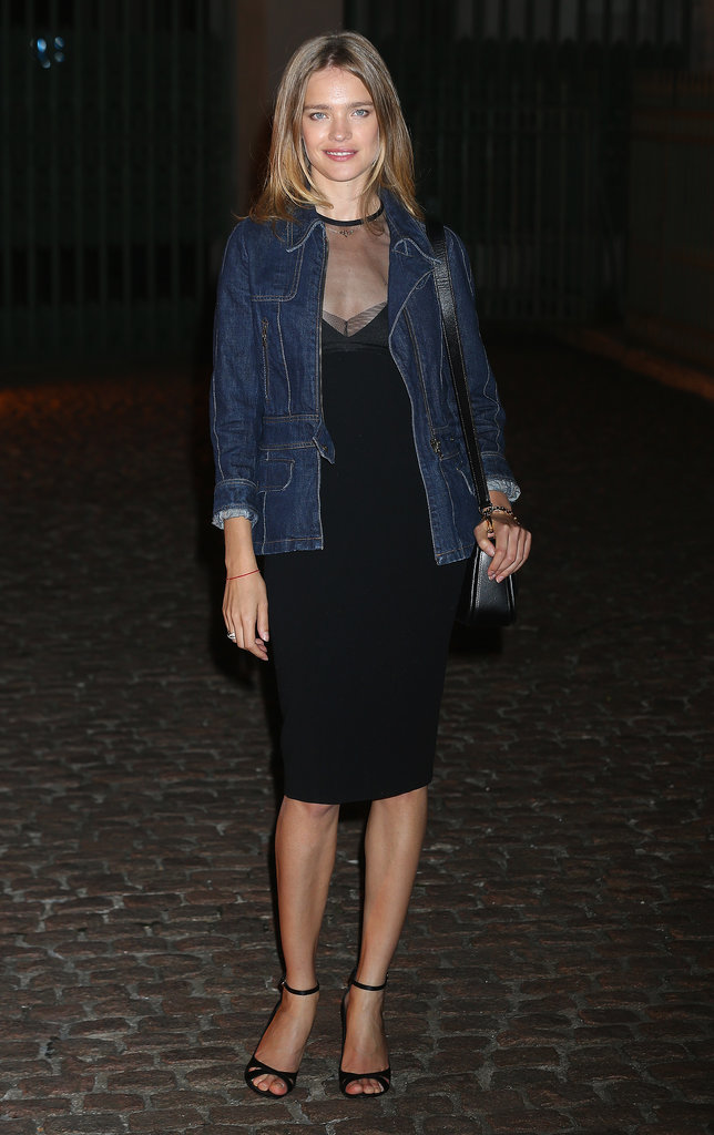 At The Global Fund celebration, Natalia Vodianova layered a denim jacket over her LBD for chic results.