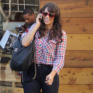 Paula Patton Wearing Plaid Top