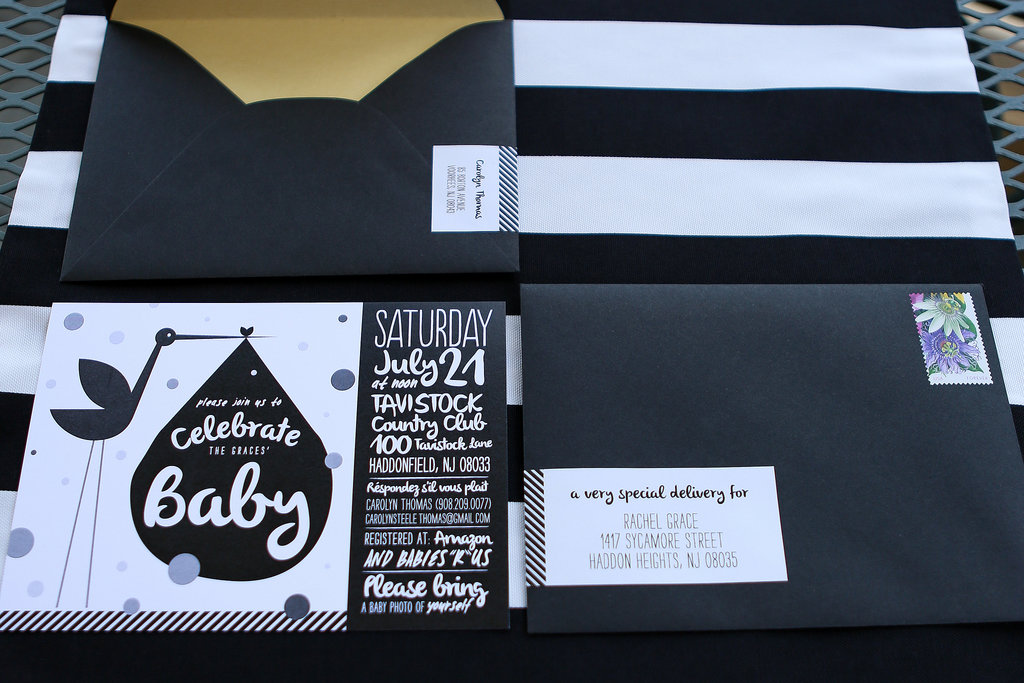 sophisticated baby shower in black white and gold popsugar moms