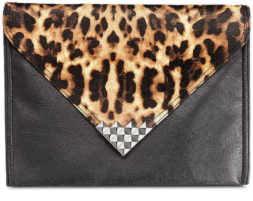 Material Girl Handbag, Leopard Studed Envelope Clutch