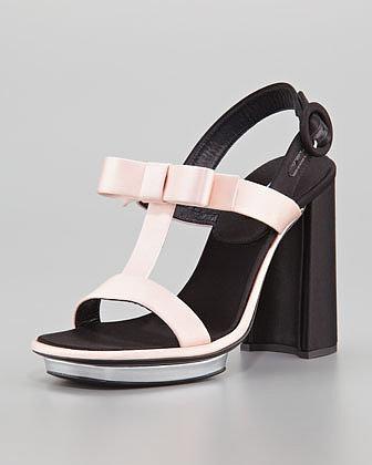 Prada Satin Bow T-Strap Sandal, Pink