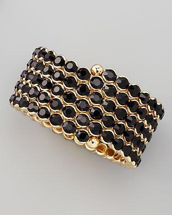Cara Accessories Crystal Spiral Bracelet, Black