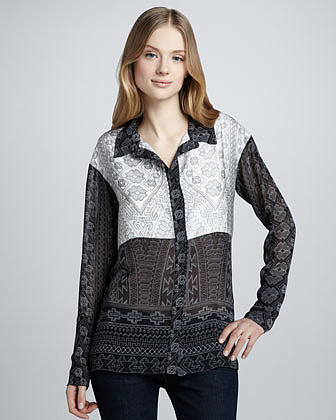 Pencey Printed Colorblock-Front Blouse