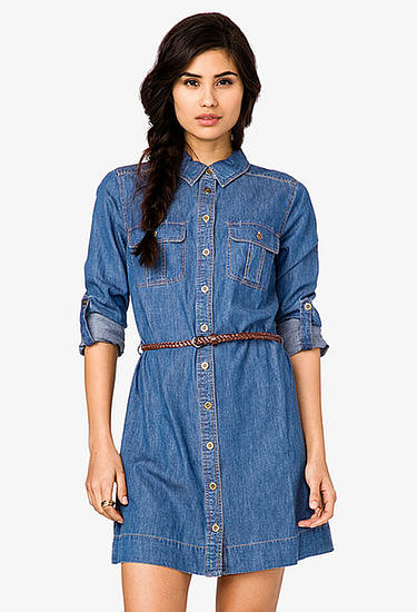 The easiest way to get dressed? Throw this Forever 21 denim shirtdress ($25